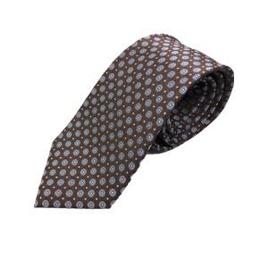 イタリア製 シルク100%ネクタイ From MILANO ブラウン×スカイブルー - 拡大画像