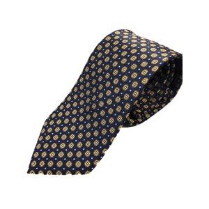 イタリア製 シルク100%ネクタイ From MILANO ネイビー×イエロー - 拡大画像