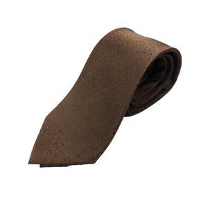 イタリア製 シルク100%ネクタイ From MILANO ブラウン×ドット - 拡大画像