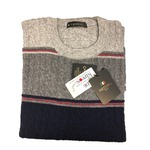 日本製 Lサイズ カシミヤ混 クルーセーター 3色ケーブル編みボーダー&タックボーダー グレー×チャコール×ネイビー