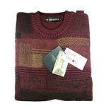 日本製 Mサイズ 英国羊毛 クルーセーター シロップシャーウール ワインレッド×キャメル×すみ黒