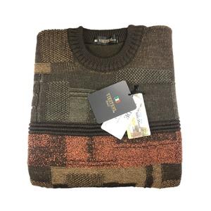 日本製 Mサイズ 英国羊毛 クルーセーター シロップシャーウール カーキグリーン×マスタード×ワインレンガ - 拡大画像