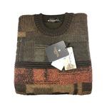 日本製 Mサイズ 英国羊毛 クルーセーター シロップシャーウール カーキグリーン×マスタード×ワインレンガ