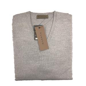 イタリア製糸使用 キャッシュウール無地 Vネックセーター シルバーグレー Mサイズ - 拡大画像