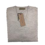 イタリア製糸使用 キャッシュウール無地 Vネックセーター シルバーグレー Mサイズ