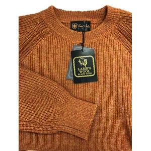 メランジクルーネックラムウールセーター ダークオレンジ M - 拡大画像