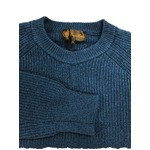 メランジクルーネックラムウールセーター ダークブルー L