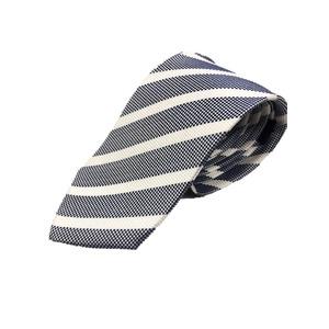 ストライプ・レジメンシリーズ シルク100%ネクタイ ジャガード織 ブルー×ホワイト - 拡大画像