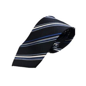 ストライプ・レジメンシリーズ シルク100%ネクタイ ジャガード織 ブラック×ホワイト - 拡大画像