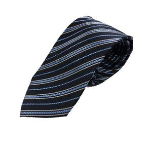 ストライプ・レジメンシリーズ シルク100%ネクタイ ジャガード織 ネイビー×マリンブルー - 拡大画像