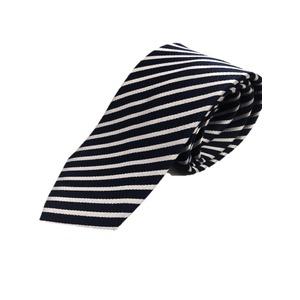 スマートタイシリーズ シルク100%ネクタイ ジャガード織 ネイビー×シルバー - 拡大画像