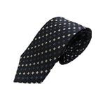 小紋・大柄シリーズ シルク100%ネクタイ ジャガード織 ネイビー×ブルー・シルバー