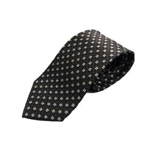 小紋・大柄シリーズ シルク100%ネクタイ ジャガード織 チャコール×シルバー - 拡大画像