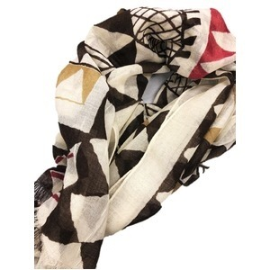 軽くて暖かいウール100% 幾何学大判ストール レッド&ブラウン メンズ・レディース - 拡大画像