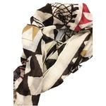 軽くて暖かいウール100% 幾何学大判ストール レッド&ブラウン メンズ・レディース