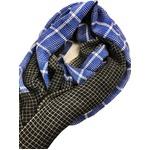 軽くて暖かいウール100% チェック大判ストール ブルー メンズ・レディース