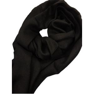 ウール混シャンブレー織ストール ブラック メンズ・レディース - 拡大画像