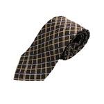 チェックシリーズ シルク100%ネクタイ ジャガード織 ブラウン
