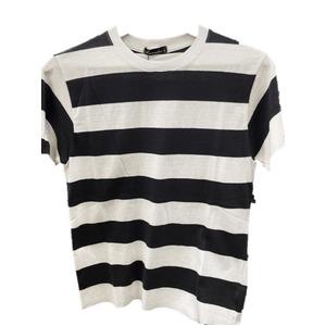 トラッド 半袖Tシャツ クルーネック ボーダー マリン ブラック&ホワイト Mサイズ - 拡大画像