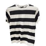 トラッド 半袖Tシャツ クルーネック ボーダー マリン ブラック&ホワイト Lサイズ