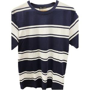 トラッド 半袖Tシャツ クルーネック ボーダー マリン ネイビー&ホワイト Mサイズ - 拡大画像