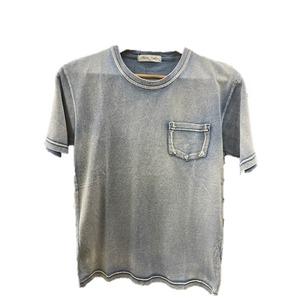 トラッド インディゴ 綿100%ポケットTシャツ インディゴブルー Lサイズ - 拡大画像