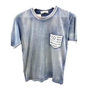 トラッド インディゴネイビー 綿100%ポケットTシャツ 星条旗 Lサイズ - 拡大画像