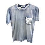 トラッド インディゴネイビー 綿100%ポケットTシャツ 星条旗 Lサイズ