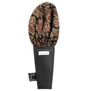 日本製 形態安定ポケットチーフ シルク100% NO127 ブラックペイズリー - 拡大画像