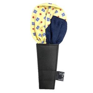 日本製 形態安定ポケットチーフ シルク100% 小紋&クリームイエロー N101 - 拡大画像