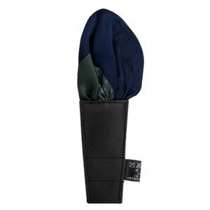 日本製 形態安定ポケットチーフ リバーシブル シルク100% モスグリーン柄×ネイビー無地 N109 - 拡大画像