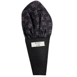 日本製 形態安定ポケットチーフ シルク100% ブラック大柄 JP354 - 拡大画像