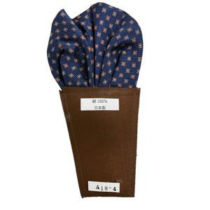 日本製 形態安定ポケットチーフ シルク100% ネイビー小紋 A18-4 - 拡大画像