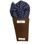 日本製 形態安定ポケットチーフ シルク100% ネイビー小紋 A18-4