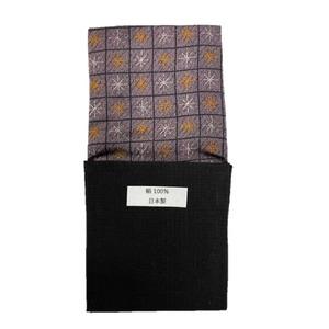 日本製 形態安定ポケットチーフ シルク100% 大柄 B121 - 拡大画像