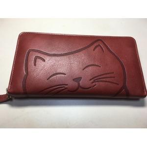 牛革猫型ロングウォレット おすまし ワイン 〔長財布〕 - 拡大画像