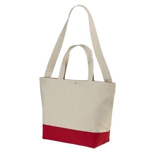 帆布製綿キャンパスコットンスイッチングトートバッグ 2WAY CB1490 ナチュラル/フレンチ レッド - 拡大画像