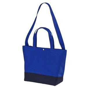 帆布製綿キャンパスコットンスイッチングトートバッグ 2WAY CB1490 コバルトブルー/ネイビー - 拡大画像