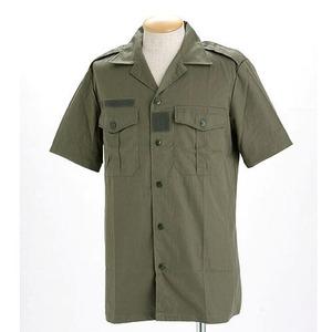 フランス軍放出 チャドシャツ( トロピカル半袖シャツ) 【 Lサイズ 】 ヘリボーン生地 オリーブ 〔未使用デッドストック〕 - 拡大画像