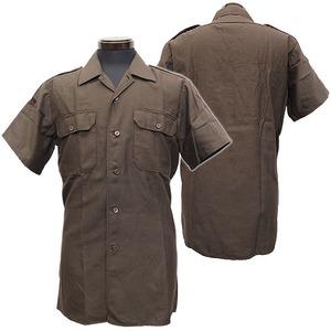 ドイツ軍放出 フィールドシャツ半袖未使用デットストック ブラウン L - 拡大画像