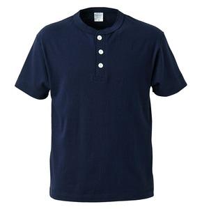 アウトフィットに最適ヘビーウェイト5.6オンスセミコーマヘンリーネックTシャツ2枚セット ネイビー+ミックスグレー Lサイズ - 拡大画像