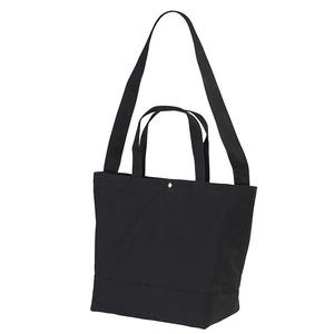 帆布製綿キャンパスコットンスイッチングトートバッグ2WAY ブラック - 拡大画像