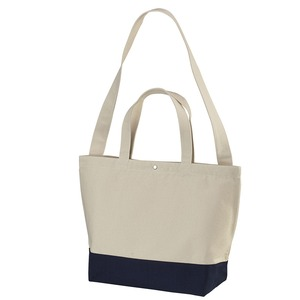 帆布製綿キャンパスコットンスイッチングトートバッグ2WAY ナチュラル/ネイビー - 拡大画像