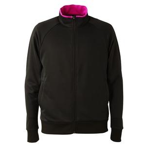 UVカット・吸汗速乾・ドライジャージパイルフルジップラグランスリーブジャケット ブラック/トロピカルピンク S - 拡大画像
