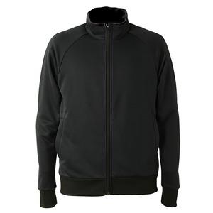 UVカット・吸汗速乾・ドライジャージパイルフルジップラグランスリーブジャケット ブラック XXL - 拡大画像