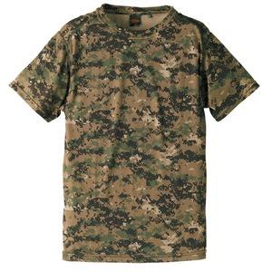 自衛隊海外派遣使用・立体裁断・吸汗速乾さらさらドライ 迷彩 Tシャツ ピクセルウッドランド S - 拡大画像