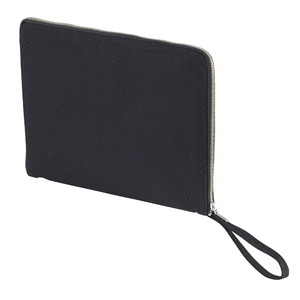14.3オンス帆布製綿キャンパスコットンクラッチバッグ ブラック - 拡大画像