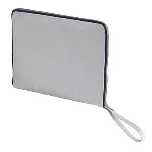 14.3オンス帆布製綿キャンパスコットンクラッチバッグ・ ライトグレー/ネイビー - 拡大画像