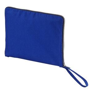 14.3オンス帆布製綿キャンパスコットンクラッチバッグ・ コバルトブルー/ネイビー - 拡大画像