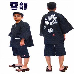 京都手描き絵甚平  龍/黒 LL - 拡大画像